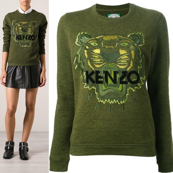 41e5461f Kenzo Sweaters | Paris Jungle Tiger Face Logo Crew Neck Khaki | Poshmark